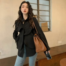 Women's Autumn Shirt Simple Trendy Style Long-sleeved Lapel Loose Ruffled Solid Color Design Sense N