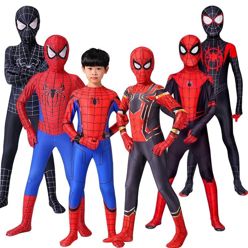 Bazzery Iron Spider Cosplay Amazing Spider-boy Man Halloween Costume Peter Parker Zentai Suit Superhero Bodysuit For Kids Adult