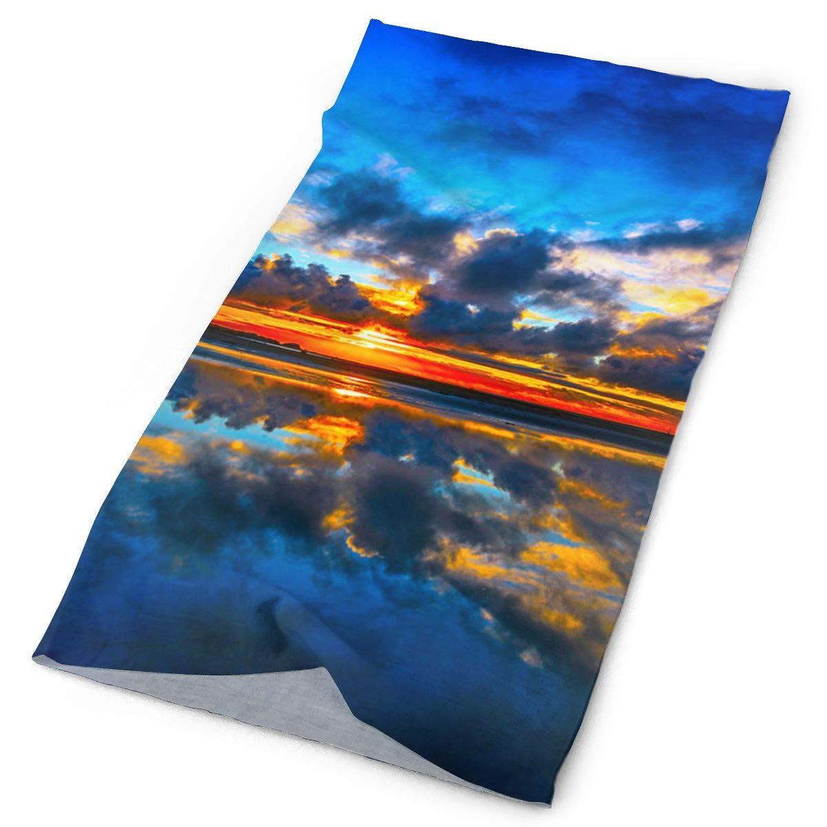 OHMYCOLOR océano Playa Mar puesta de sol diadema banda Unisex para la cabeza, diadema bufanda de cuello de microfibra de trapo de magia de la bufanda de la cabeza