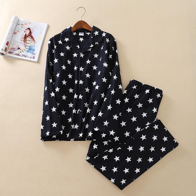 Men's Worsted Pajamas Long Sleeve Turn-down Collar Plus Size Two Night Sets Cotton Brushed Fabric Navy Men Nightwear Lounge Set