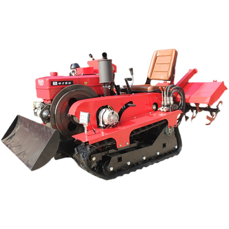Agricultural Diesel Engine 25 horsepower Small Four-Wheel Sitting Drive Crawler Tractor with Rotary Tiller