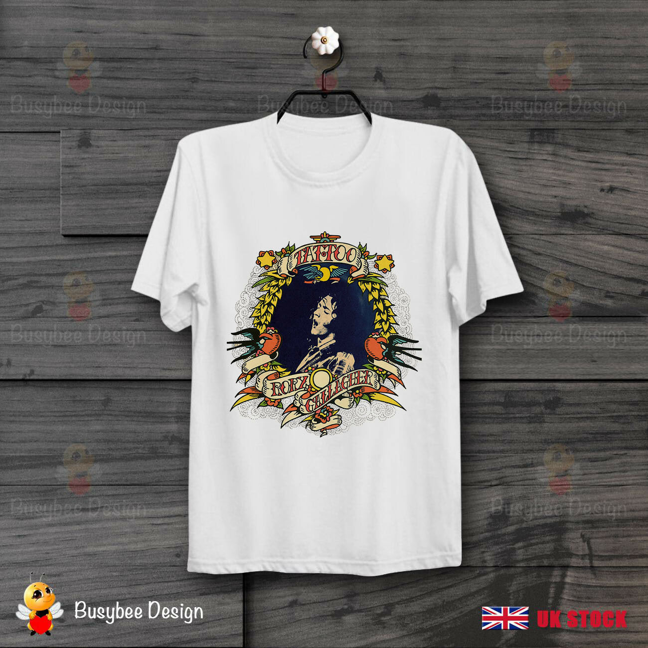 Rory gallagher tatuagem música blues rock retro legal vintage unisex t camisa b209