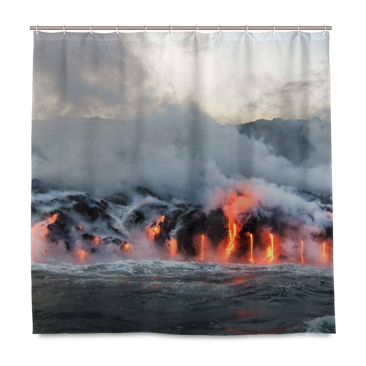 Cortina de ducha única Lava fundida que fluye en el Océano Pacífico en la Isla Grande de Hawaii respetuoso con el medio ambiente con 12 ganchos en el baño