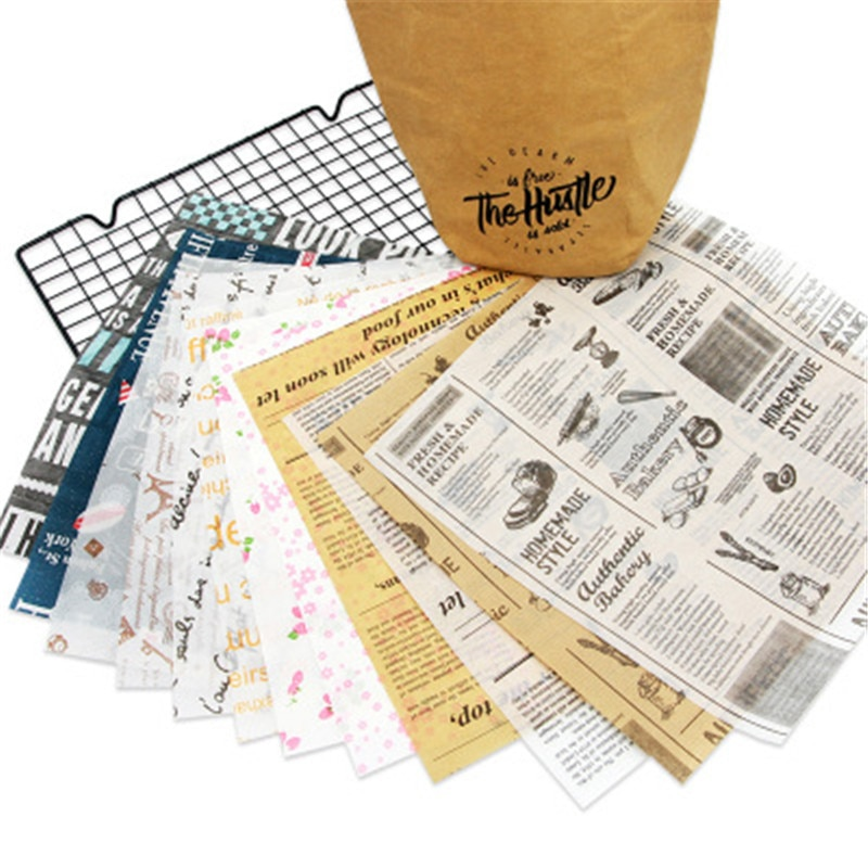 50 шт. масляная бумага пищевая вощеная бумага оберточная бумага для хлеба сэндвич бургер фри украшение упаковочная бумага антипригарная Восковая бумага для выпечки