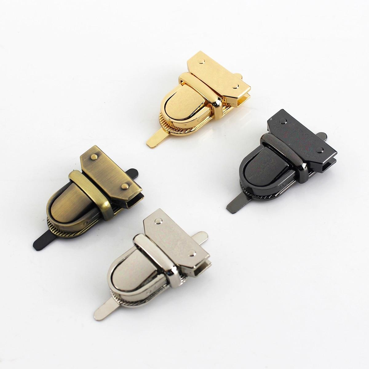 1pcs Metal Press Push Lock Tongue lock Bag Briefcase Spring Lock Snap Decorative Clasps Closure Leat