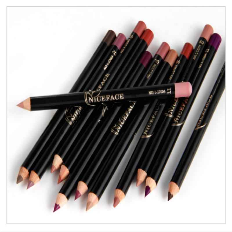 12 Colors Fashion Lip Pencils Matte Lipliner Waterproof Smooth Colorful Silk Nude Lipstick Pen Long