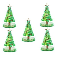 New Design Christmas Gift 5PCS Magic Growing Crystal Christmas Tree Presents Kids Funny Educational Party Toys Home Decorative