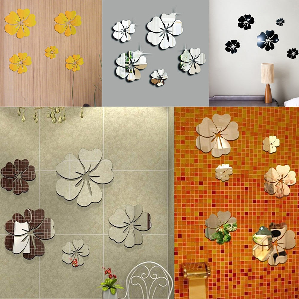 Espejo Floral arte etiqueta extraíble para pared, Mural acrílico, calcomanía, decoración de...