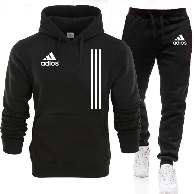 New adios Men's Autumn Winter Sets Zipper Hoodie+pants Two Pieces Casual Tracksuit Male Sportswear G
