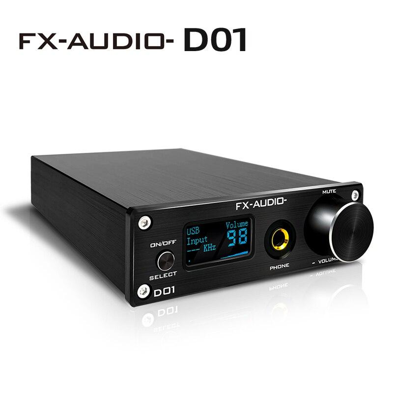 FX Audio D01 DAC-مكبر صوت سماعات الأذن ، Bluetooth 5.0 ES9038Q2M DAC 32Bit 768kHz DSD512 XU208 Amplifier 6.35 مللي متر Line Out Decoder