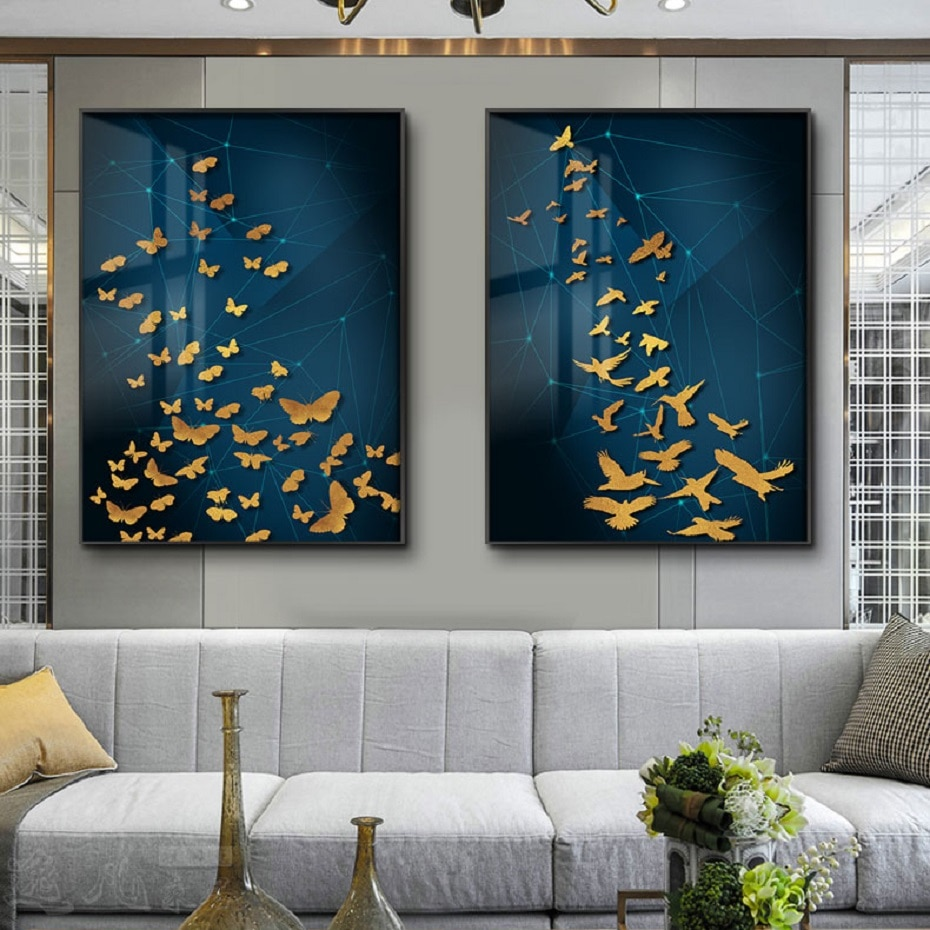 Nórdico abstracto oro peces pájaros mariposa lienzo impresión arte carteles pinturas decorativas para sala de estar hogar Decoración de la pared