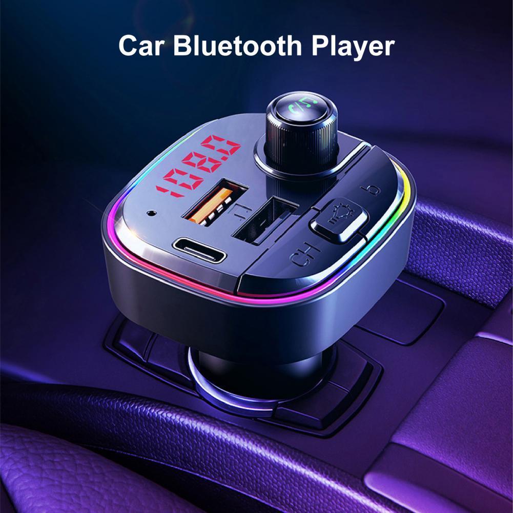 Автомобильный MP3-плеер Quick Charge 3,0 с двумя USB-портами, цветные огни, FM-передатчик PD, автомобильная быстрая зарядка, Bluetooth для навигации