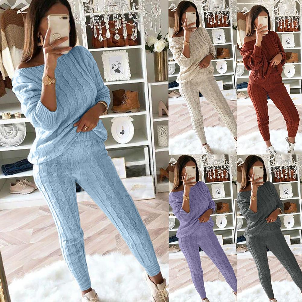 Novo outono inverno quente duas peças conjunto de malha outfit camisola jumpers calças compridas conjunto