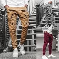 new style mens casual pants woven big pocket zipper fashion overalls waterproof breathable street hip hop style long pants