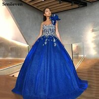 smileven royal blue formal evening dresses 2019 crystal lace sequin formal dress party gown robe de soiree big bow prom gowns