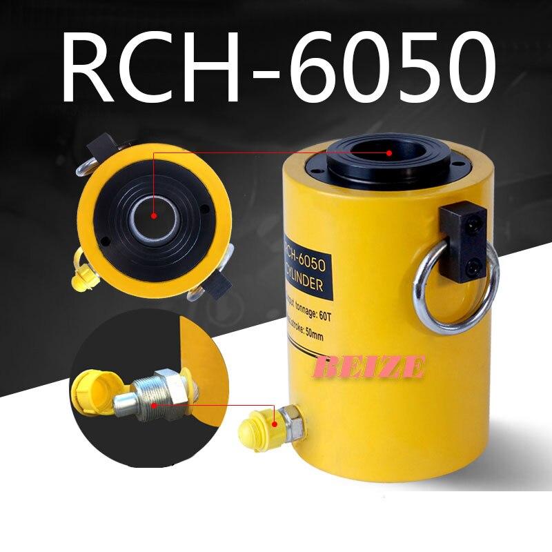 60 Ton 50mm Buraco Oco Do Cilindro Hidráulico Jack RCH-6050 Ram 60 50 Toneladas stroke mm