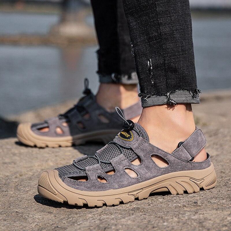 Sandalhas sport s zapatos de cuero caminar 2018 big piel hombre sandalias...