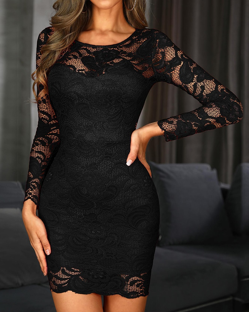 Spring Summer Women Long Sleeve Mini Lace Club  Dress See Through Lace Overlay Mesh Sexy Party Dress burgundy see through lace insert cut out halter mini dress