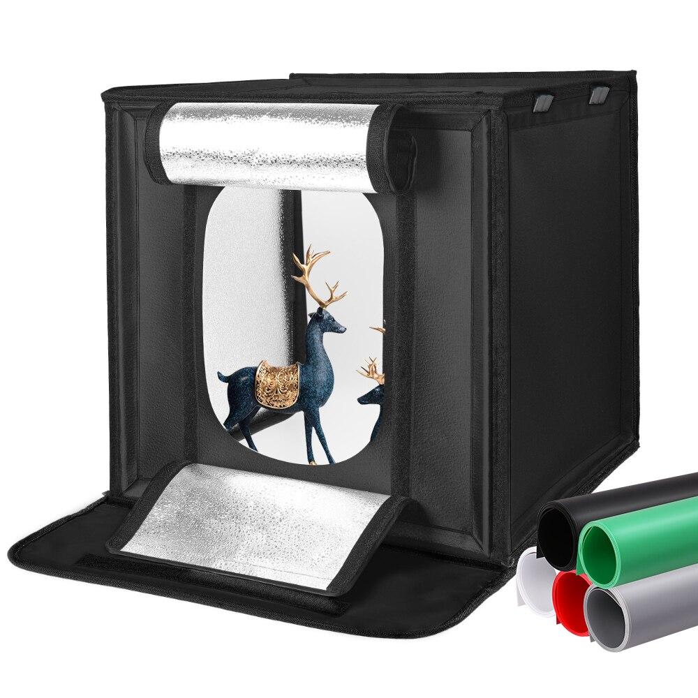 40/60/80 سنتيمتر التصوير مصباح LED للاستديو هات صندوق الضوء إضاءة صور مجموعة أدوات الخيمة الطاولة اطلاق النار سوفت بوكس مع 5 ألوان خلفية علبة الصو...