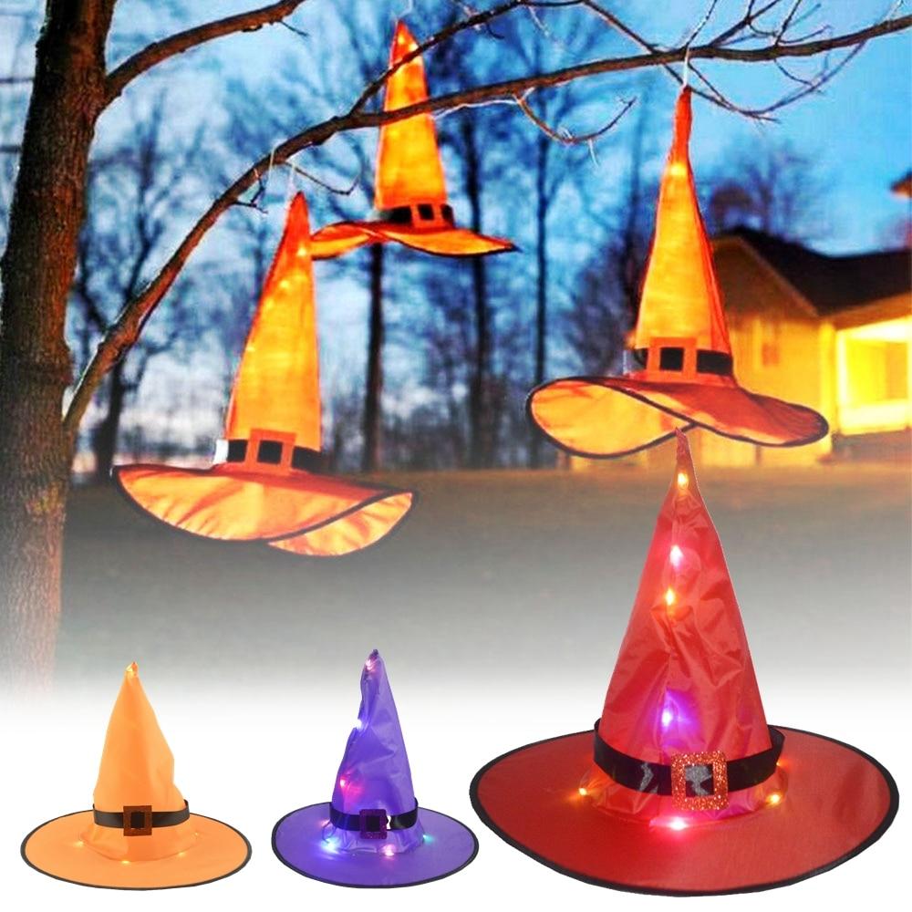 Halloween Led sombrero fantasma Festival bruja sombrero festivo Hogar Accesorios de decoración para fiestas Cosplay Tiara accesorio colgante suministros de decoración