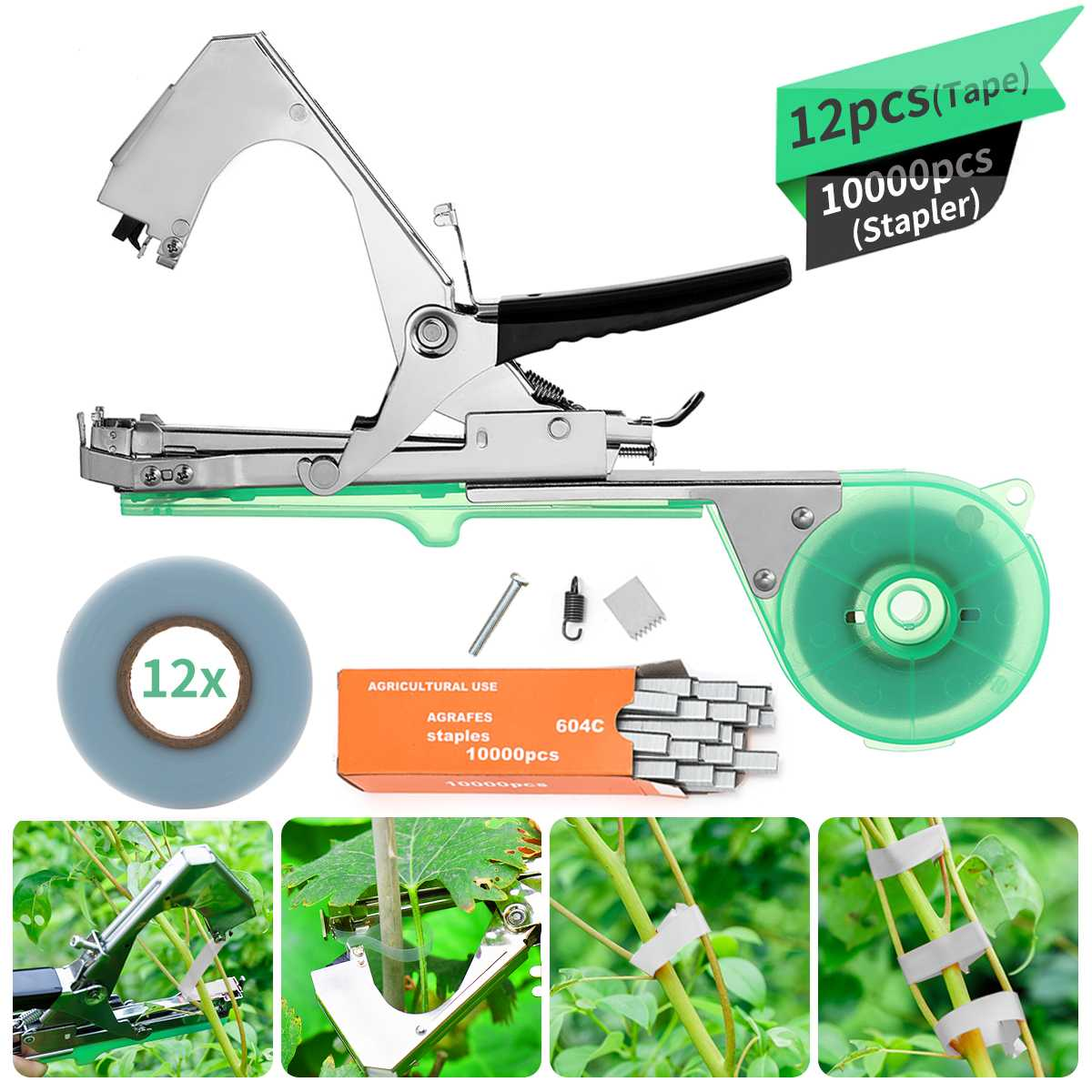 1 Set New High Quality Plant Branch Hand Tying Staples+Tapener+Tapes Binding Machine Flower Vegetabl