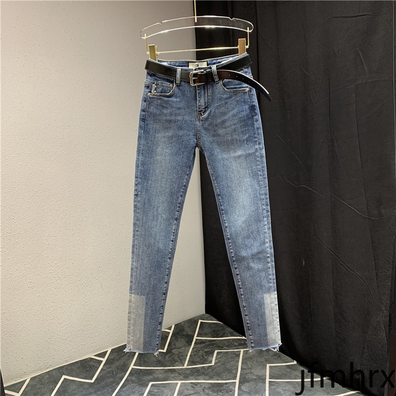 Simple bleu jean pour femme personnalité couleur panneau crayon pantalon 2020 printemps nouveau coréen mode pantalon Denim jean Jeansy Damskie