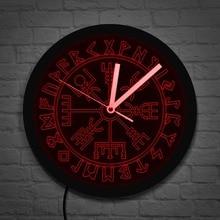 Vegvisir компасы настенные часы Vikings Symbol Runes светодиодный неоновые часы Viking скандинавские современные настенные часы светодиодный настенные ча...