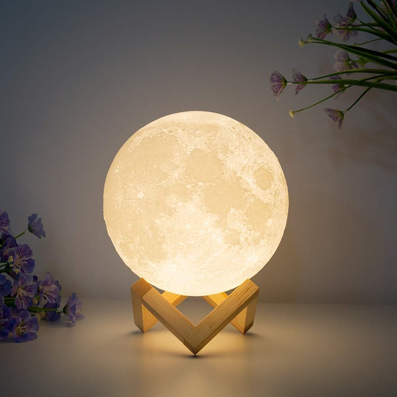 3D Print Moon Lamp Rechargeable USB 16 Colors Change Night Light Brightness Adjust Decoration Lamp f