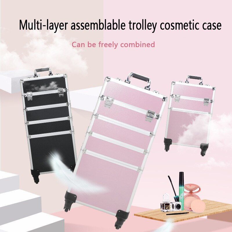 New Women Trolley Cosmetic Bags on Wheel,Nails Makeup Toolbox,Detachable Foldable Beauty Suitcase Travel bag vs Rolling Luggage