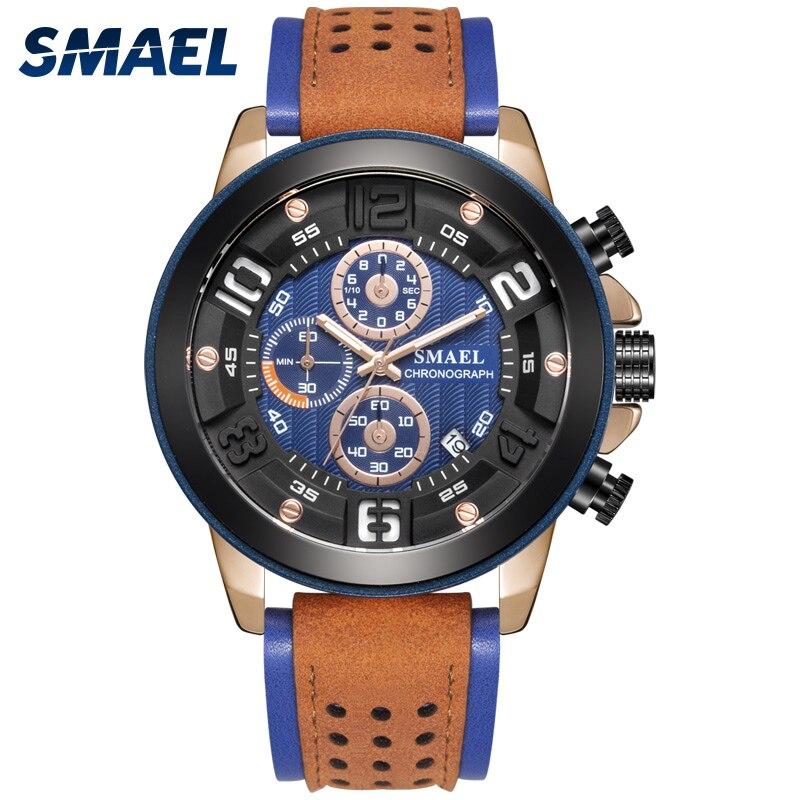 Relógio de Negócios Automática e Ponteiro Masculino à Prova Smael Novo Data Luminoso Relógio Dwaterproof Água Sl-9083ver Marca Superior Masculino Men