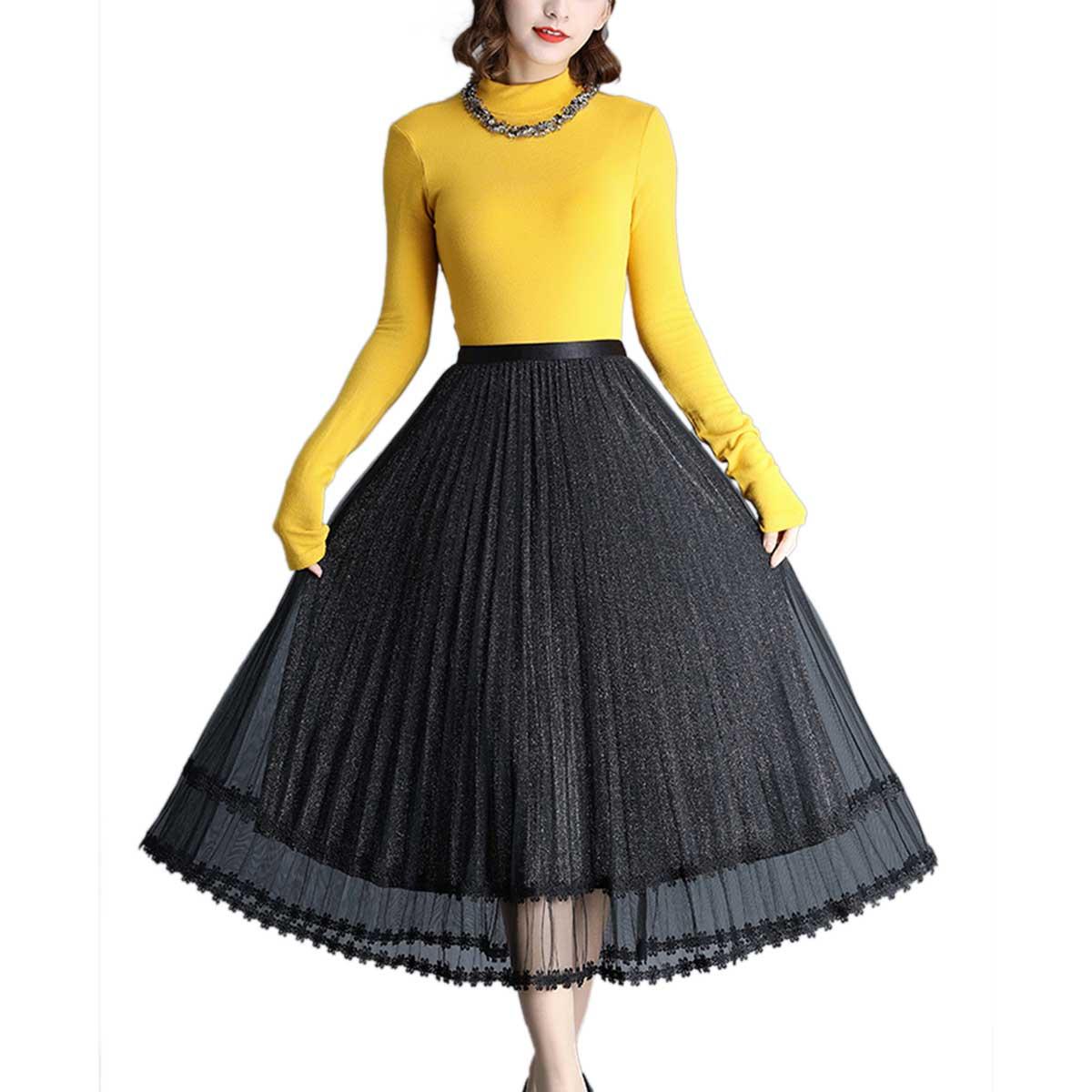 Nova moda feminina senhoras verão outono casual brilhante fio elástico-cintura longa saia plissada all-match gaze hemline saias preto