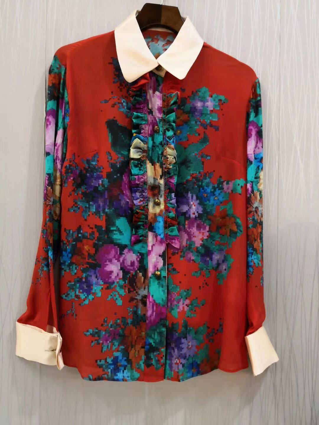 NEW offer feedback mulberry silk color positioning spend long silk blouse S M