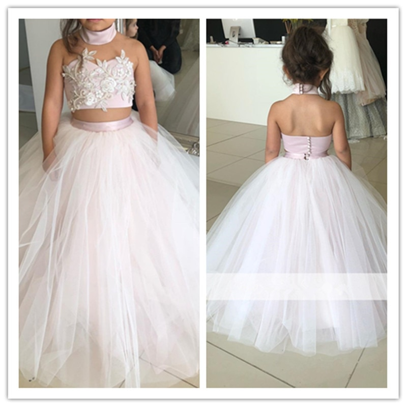 long sleeve flower girl dresses for weddings ball gown tulle lace beaded baby long first communion dresses for little girls Pink 2021 Flower Girl Dresses For Weddings Ball Gown Halter Tulle Lace Pearls Long Custom Made First Communion Dresses For