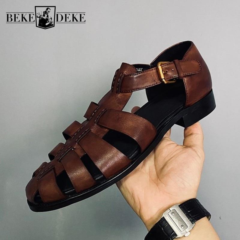 Feitos à Mão Sandálias de Luxo Oco para Fora Tamanho Grande Retro Roma Sapatos Masculinos Couro Genuíno Plana Respirável Verão Formais 46