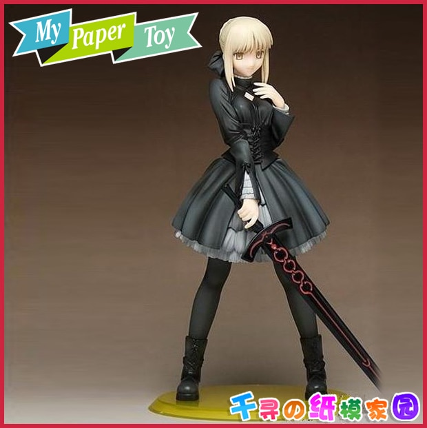 Cute anime girl Fate stay night Dress edition Swordsman DIY 3D three-dimensional paper model