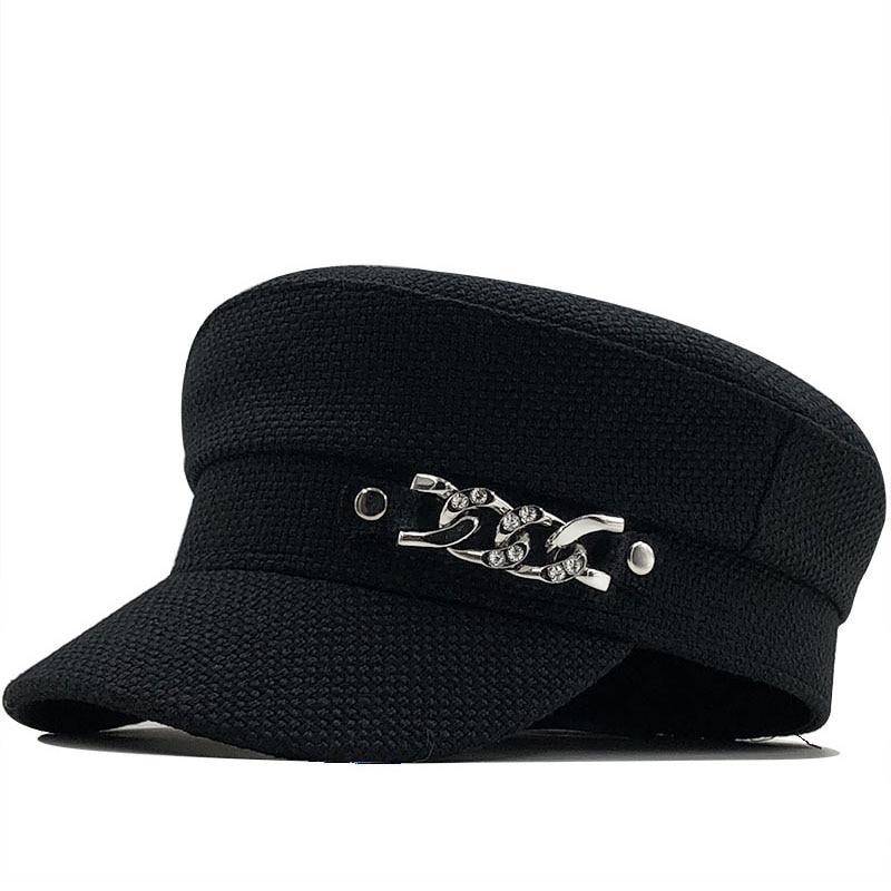 Hot spring new retro chain flat top navy summer Outdoor Casual Caps Octagonal Cap Adjustable for Women