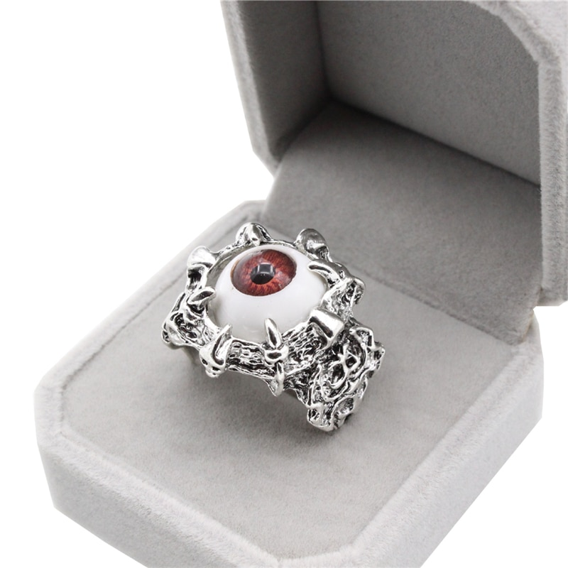 Cool Skull Claw Vivid Eye Rings Red Color Halloween Party Dress up Supplies Punk Biker Style For Man Wholesale