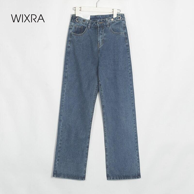Wixra-بنطلون جينز نسائي طويل ، ملابس الشارع ، مستقيم ، قطن ، جيوب ، كاجوال ، ربيع وصيف