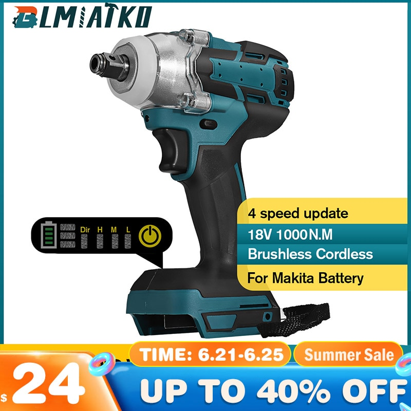 AliExpress - BLMIATKO Upgrade Brushless Cordless 4 Speed Electric Impact Wrench Rechargeable 1/2inch Wrench Power Tool for Makita 18V Battery