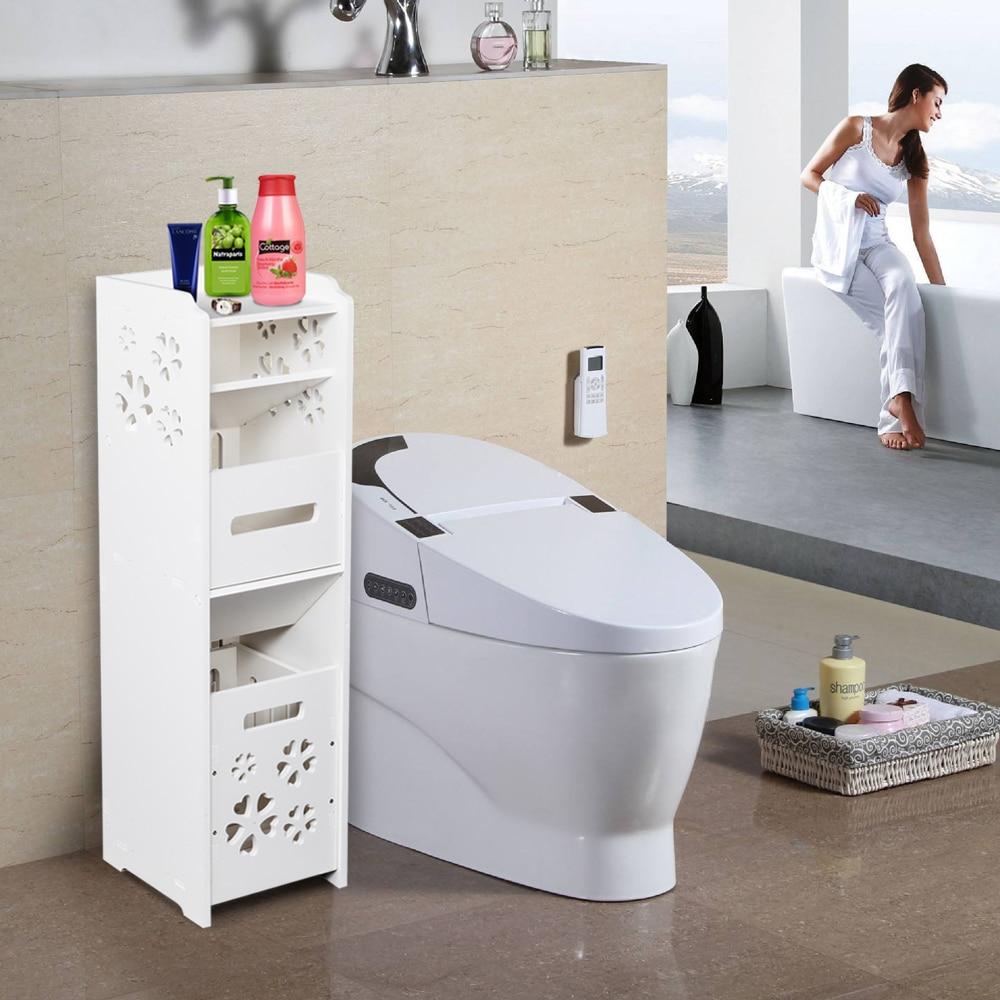 3-Tier خزانة الحمام رقيقة المرحاض خزانة الغرور ، منظم حوض حمام ضيق ، رف تخزين منشفة لحامل الورق