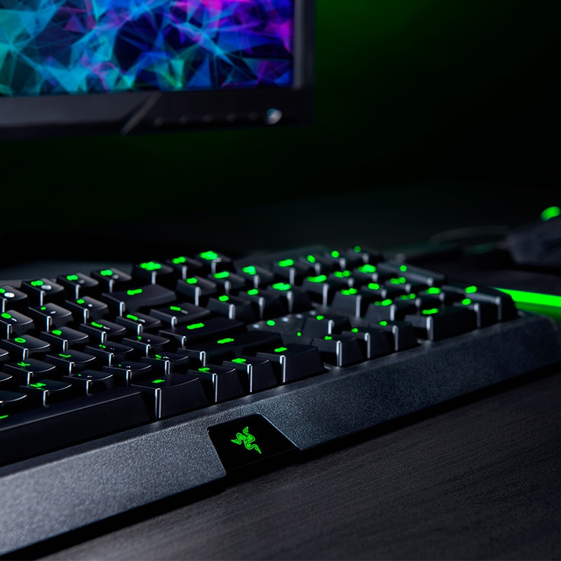 Razer BlackWidow Essential Mechanical Gaming Keyboard: Green Mechanical Switches - Tactile & Clicky - Green LED Backlighting