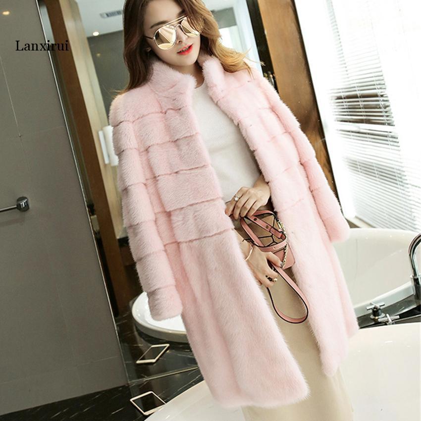 Abrigo de piel de marca de lujo para mujer, abrigos de piel...