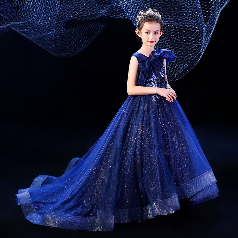 فستان طويل من الدانتيل مزين بالورود للبنات ، مطرزة باللون الأزرق ، للحفلات الراقصة ، زي الأميرة ، لوصيفات العروس ، للمراهقين