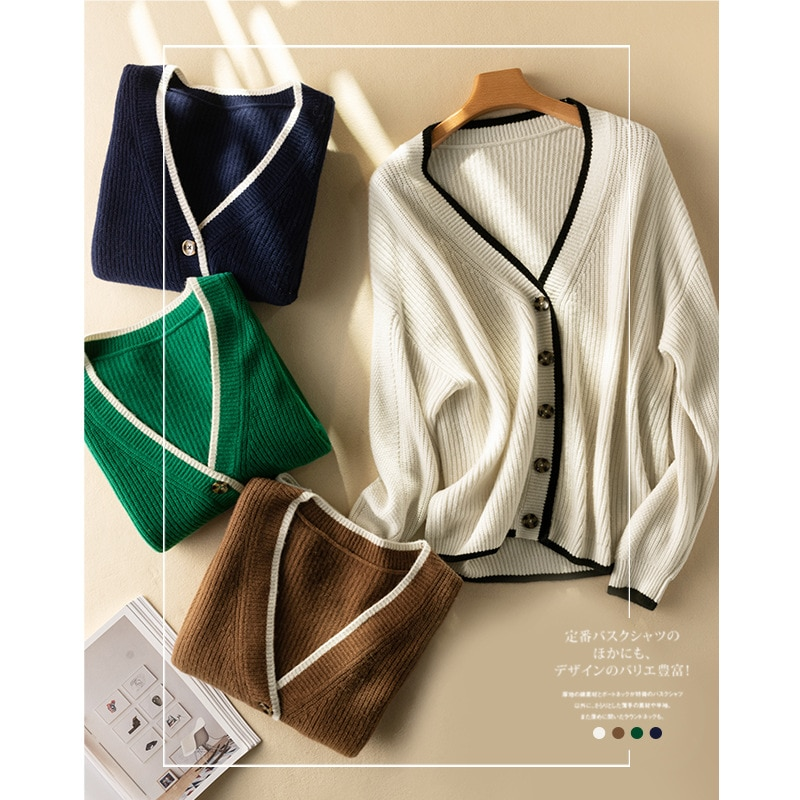 SHUCHAN 100% Wool Thick Winter Warm Sweater Women Knit Cardigan 2021 New High Street  V-Neck  Single Breasted  Solid enlarge