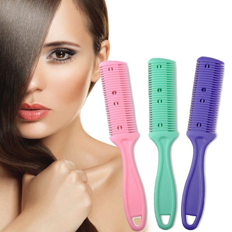 1 pièces Double côtés cheveux rasoir peigne coupe coupe amincissement couteau coupe de cheveux toilettage unisexe coupe-cheveux style outil couleur aléatoire