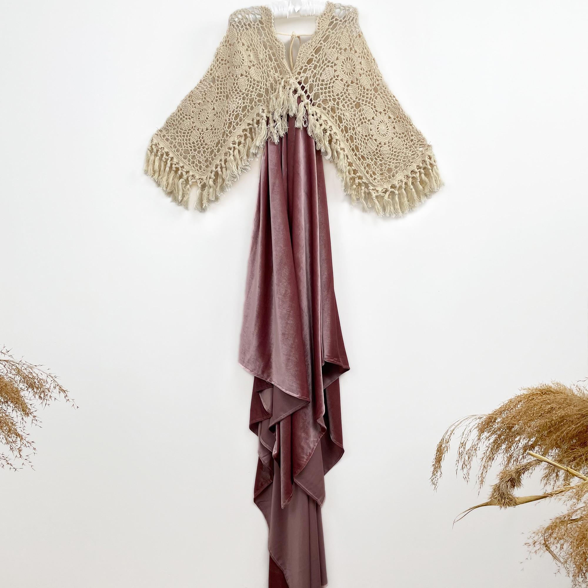 Photo Shoot Boho Crochet Cotton Long Bell Sleeves 4-8 Years Little Girl Dress Child Velvet Gown for Kid Photography Accessories