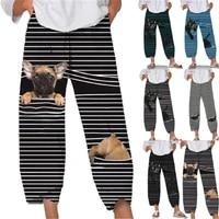womens spring summer pants casual cute cartoon print elastic waist trousers oversize loose beach wide leg pants plus size s 5xl