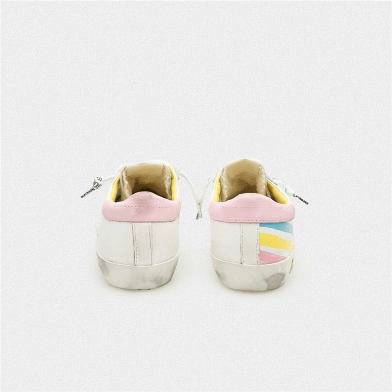 Spring and Autumn  New Color Striped First Layer Cowhide Children's Shoes Old Small Dirty  Parent-child Casual Sneakers QZ15 enlarge