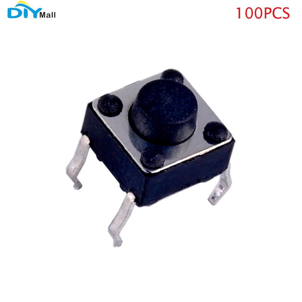 Тактовый кнопочный переключатель 100 шт./лот 6*6*8 мм 4P DIP для Arduino