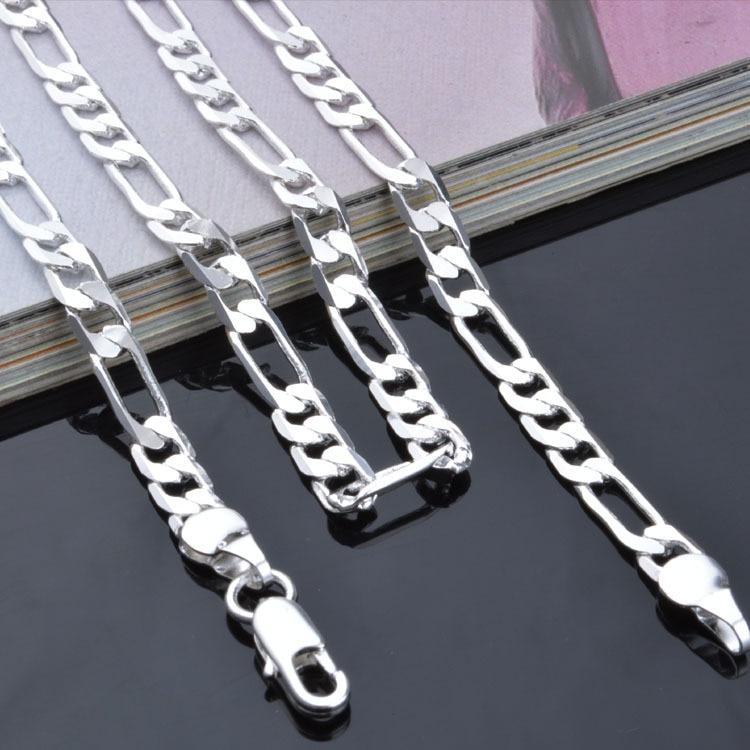 Цепочки-из-Фигаро-4-мм-модные-вечерние-цепочки-унисекс-для-мужчин-и-женщин-подарок-на-свадьбу-ожерелье-из-стерлингового-серебра-925-пробы